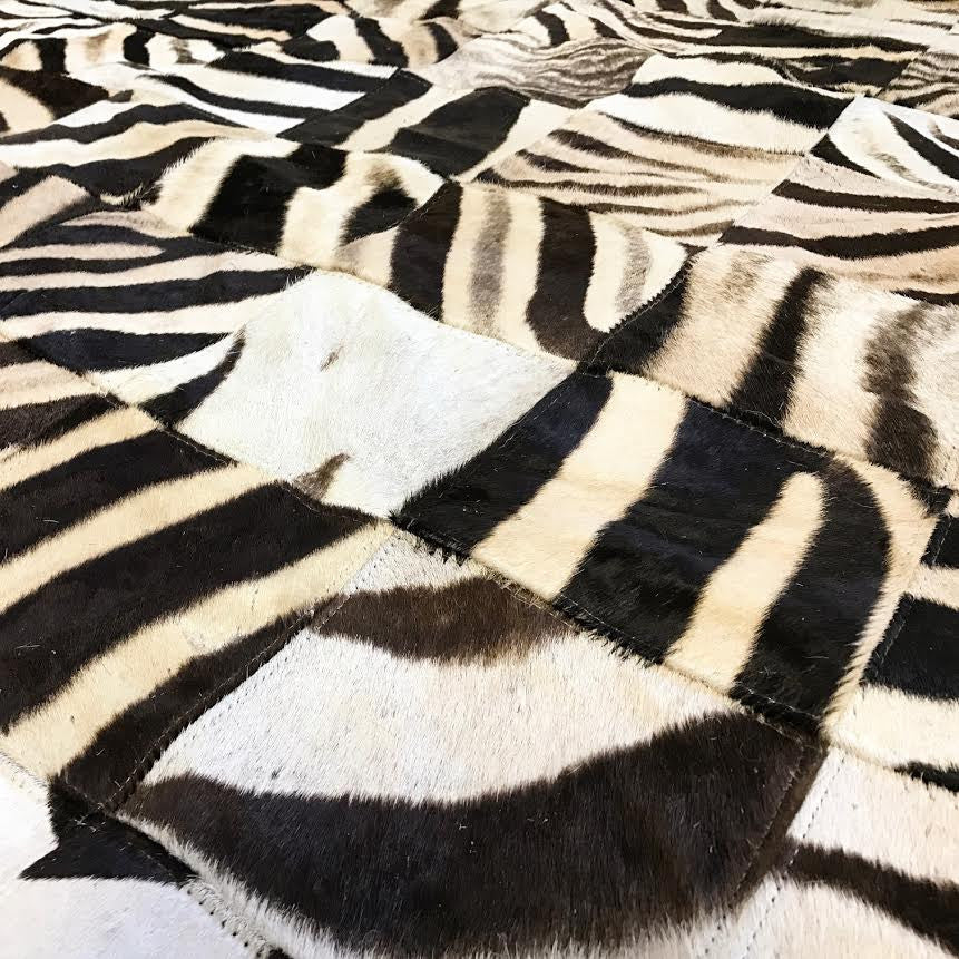 Zebra Hide Patchwork Rug, 8x10 ft - FORSYTH