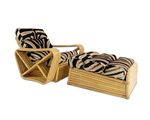 Rattan Lounge Chair and Ottoman in Zebra Hide - FORSYTH