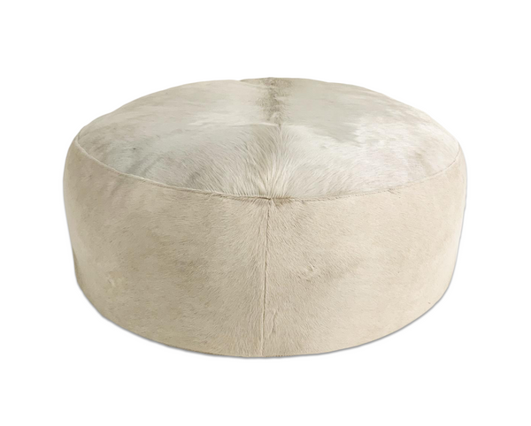 Large Round Ottoman in Brazilian Cowhide - FORSYTH