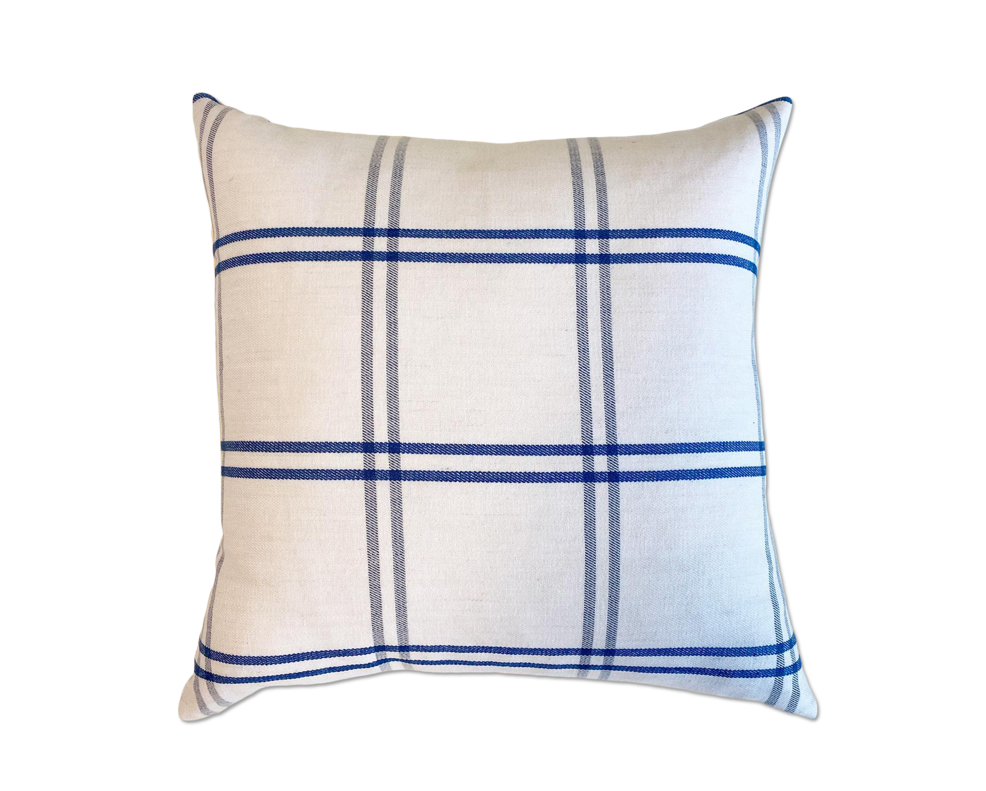 Schumacher Indigo Plaid Pillow, 18""