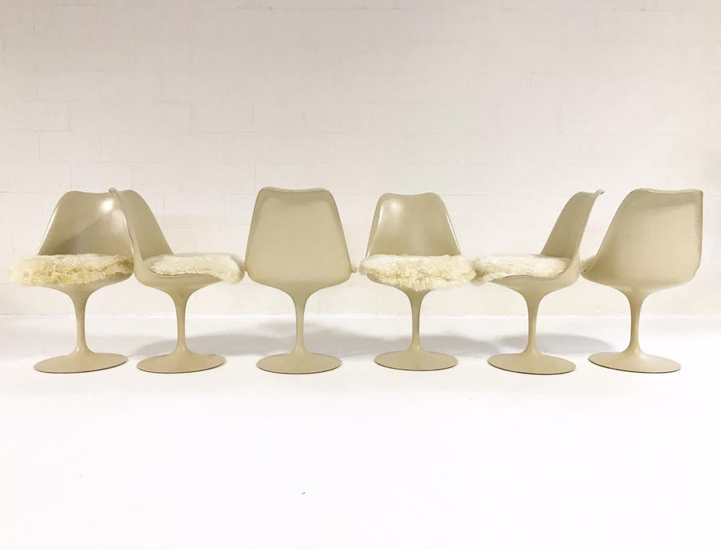 Eero Saarinen Tulip Dining Chairs with Custom Brazilian Sheepskin Cushions - Set of 6 - FORSYTH