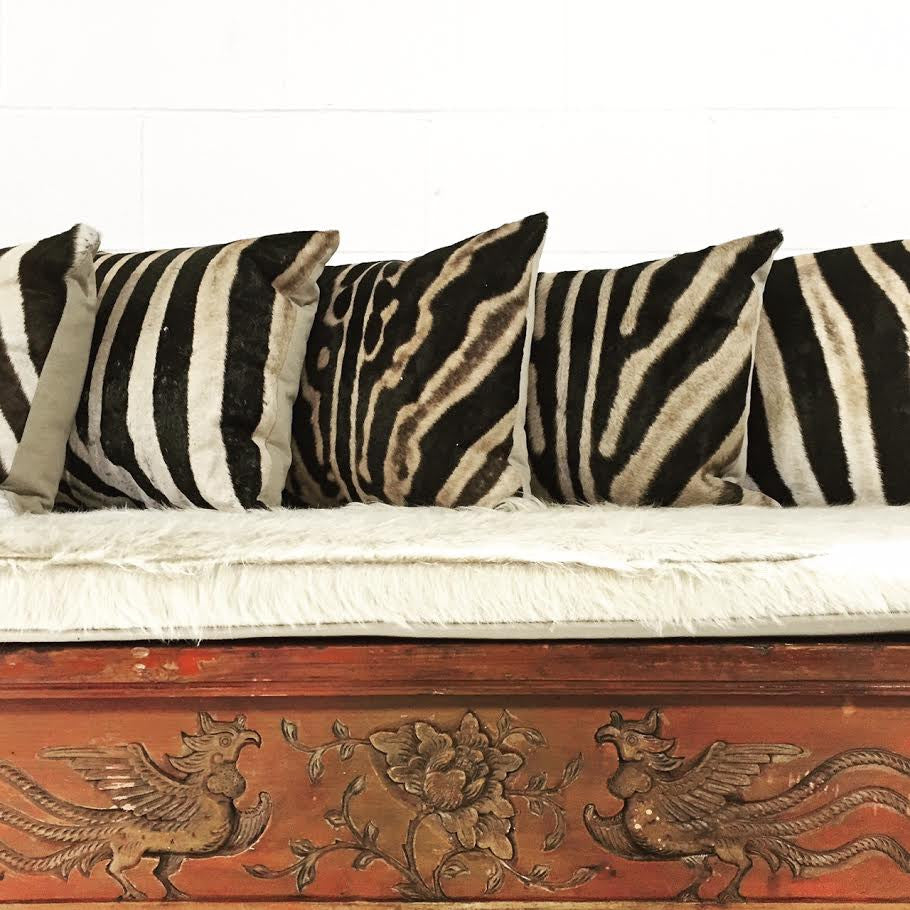 Carved Phoenix Bird Bench with Ivory Cowhide Cushion - No. 11 - FORSYTH