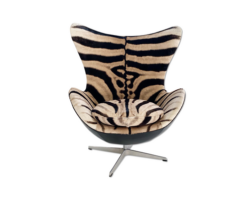 Egg Chair in Zebra Hide and Leather - FORSYTH
