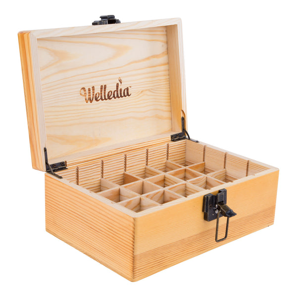 Welledia AromaStorage Essential Oil Wooden Box, Large, Fits 24 Bottles #WEL-900