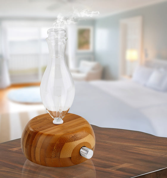 Welledia Pleasant Essential Oil Glass Nebulizing Diffuser with Bamboo Base and Color LED's