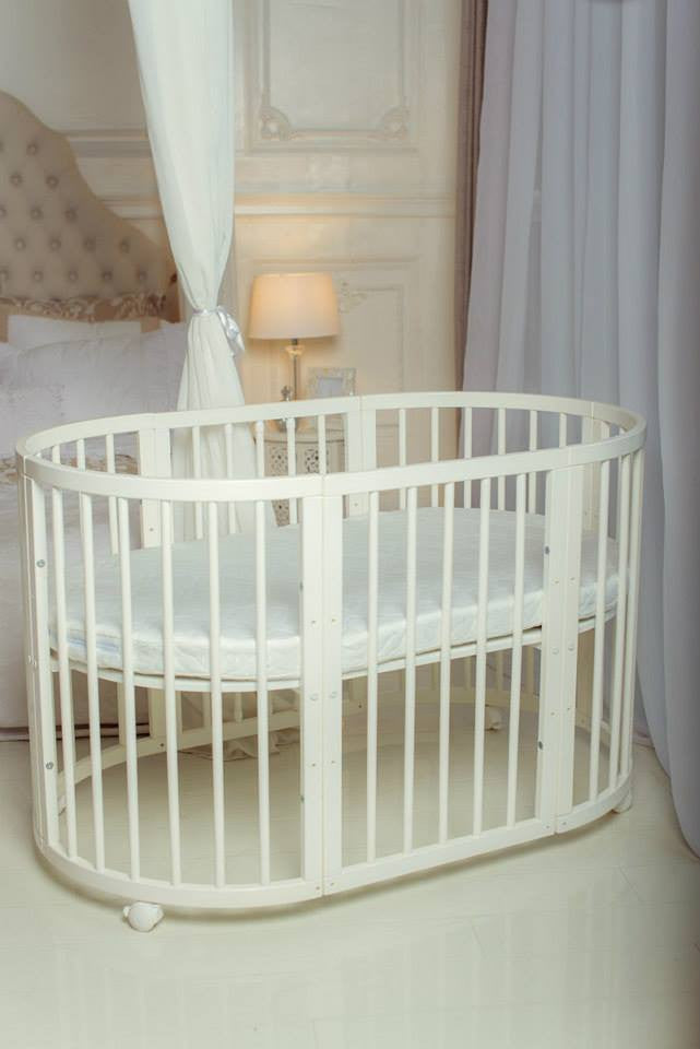 Oval Cot Bed White Including Mattress Certified Din En