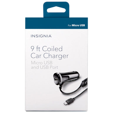 INSIGNIA 9ft Micro USB and USB Port Car Charger