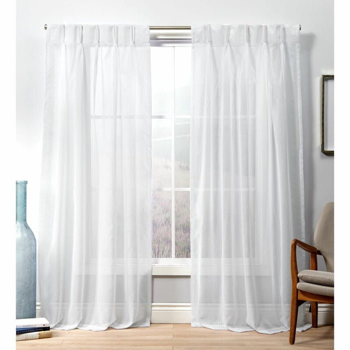 "27"" x 108"" Winter White Alek Winter Solid Color Sheer Pinch Pleat Curtain Panels (Set of 2)"