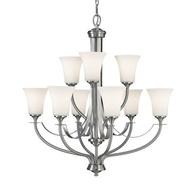 Barrington 2-Tier 9-Light Chandelier, Brushed Steel