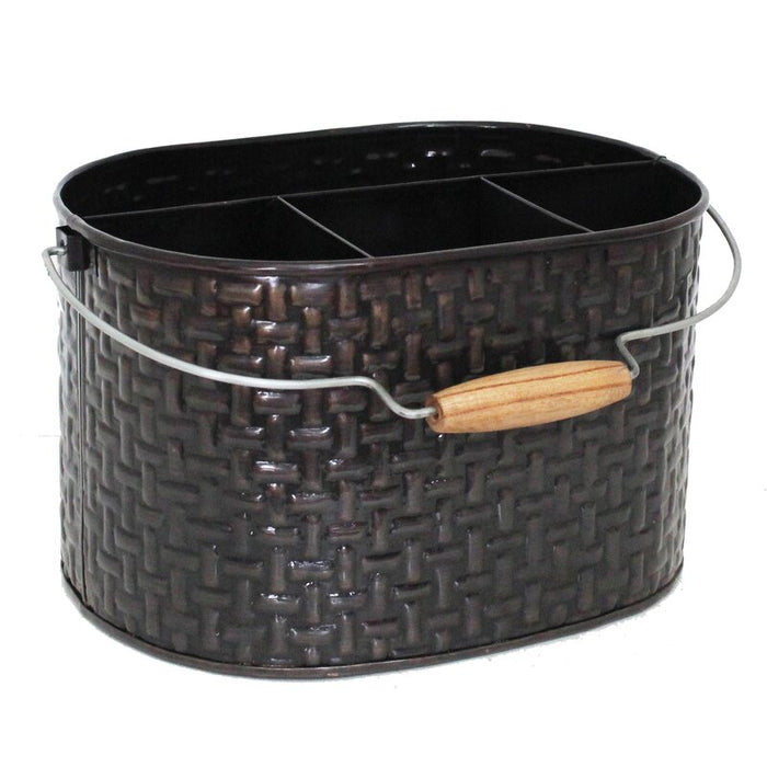 Weave Design Oval Flatware Caddy