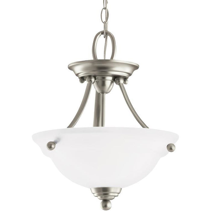 WHEATON TWO LIGHT SEMI-FLUSH CONVERTIBLE PENDANT IN  BRUSHED NICKEL