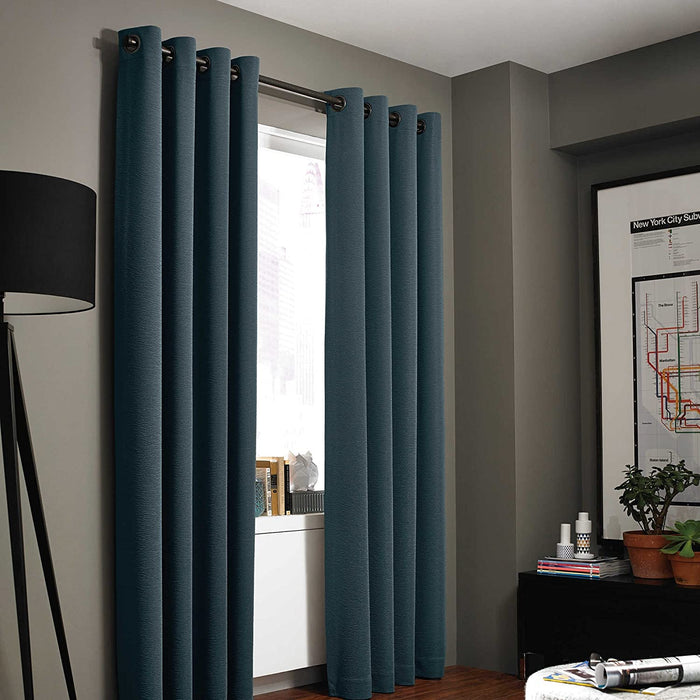 "95"" Kenneth Cole Reaction  Gotham Texture Lined Grommet Window Curtain Panel, in Azure Blue"