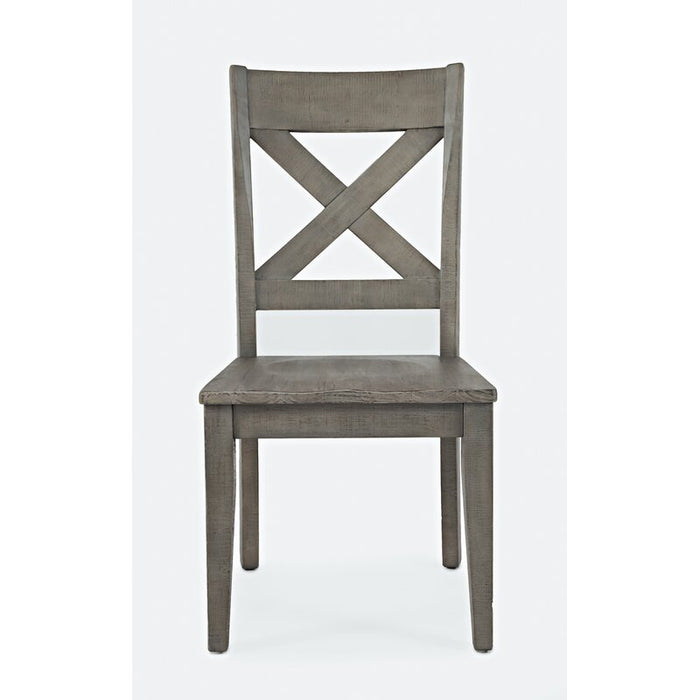 Solid Wood Cross Back Side chair in Grey with Brown Seat (Set of 2)