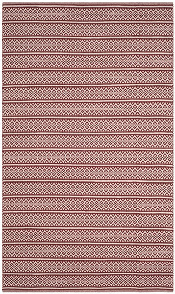 5' x 8' Montauk Red & Ivory Cotton Flat Weave Rug
