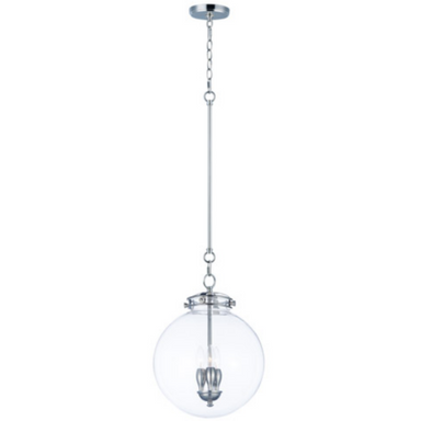 Retro 3 Light 14 inch Polished Nickel Single Pendant Ceiling Light