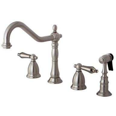 KINGSTON BRASS KS1798ALBS WIDESPREAD KITCHEN FAUCET, BRUSHED NICKEL