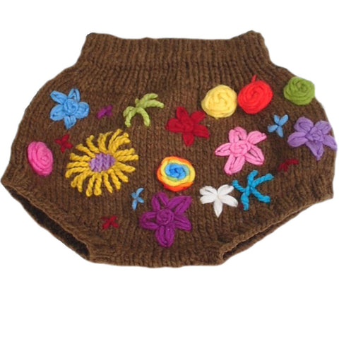 Brown Merino Wool Soaker w/ Embroidered Flowers
