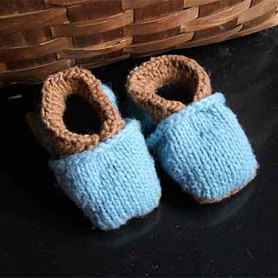 Brown Wool Baby Slippers