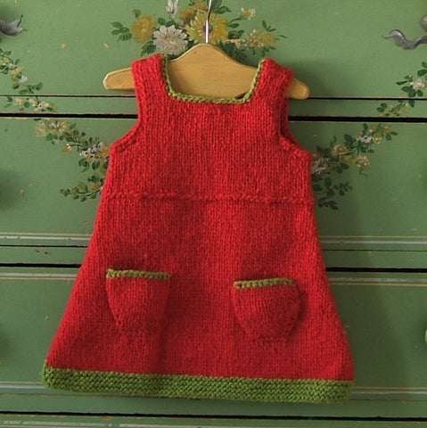 Orange and Green Hand Knit Wool Jumper Dress