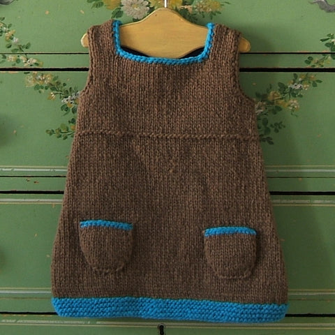 Lavender and Blue Hand Knit Wool Jumper Dress