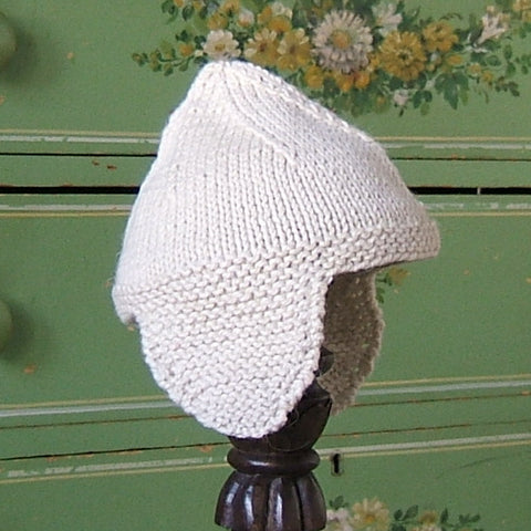 Cream Alpaca Wool Earflap Hat