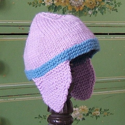Lavender & Blue Wool Earflap Hat