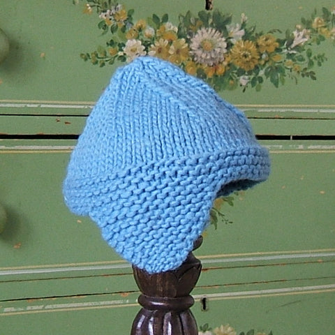 Brown and Turquoise Wool Earflap Hat