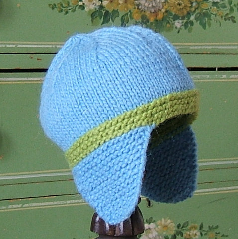 Blue & Green Wool Earflap Hat