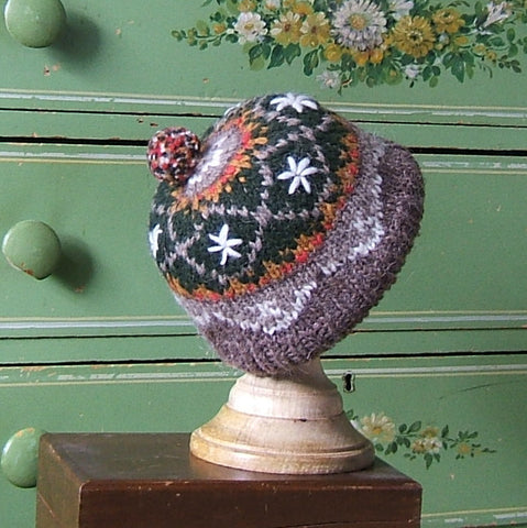Orange & Green Wool Earflap Hat