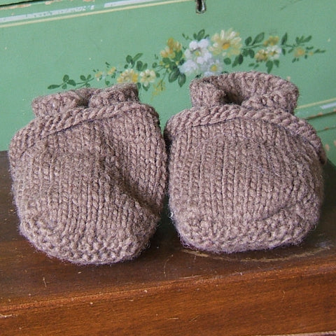 Pink and Brown Wool Baby Slippers