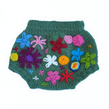Sage Embroidered Flower Wool Soaker
