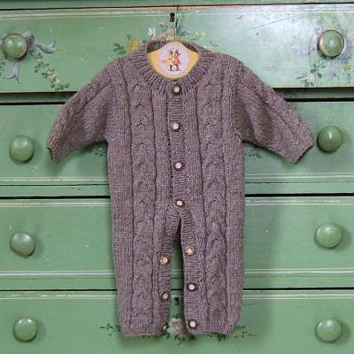 Natural Gray Wool Snuggle Suit