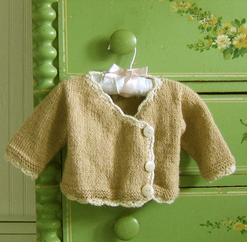 Tan Alpaca Hand Knit Baby Sweater
