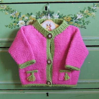 Pink and Green Wool Sweater