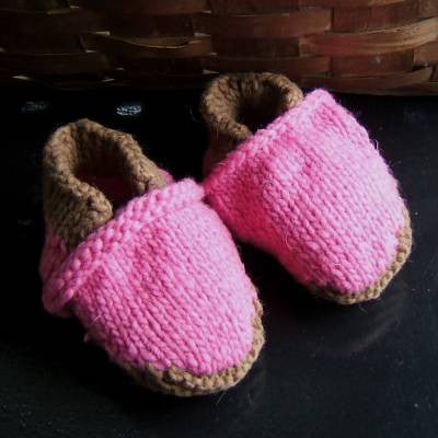 Red and Brown Wool Baby Slippers