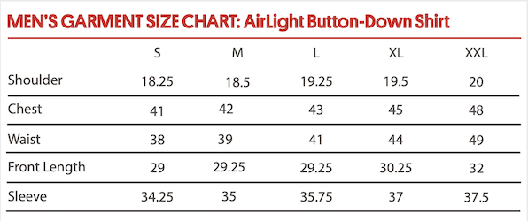 AirLight Button-Down Shirt Size Chart