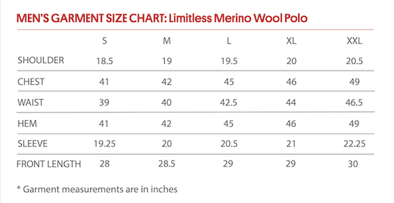 Limitless Polo Size Chart