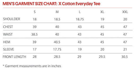 X-Cotton Tee Sizing Chart