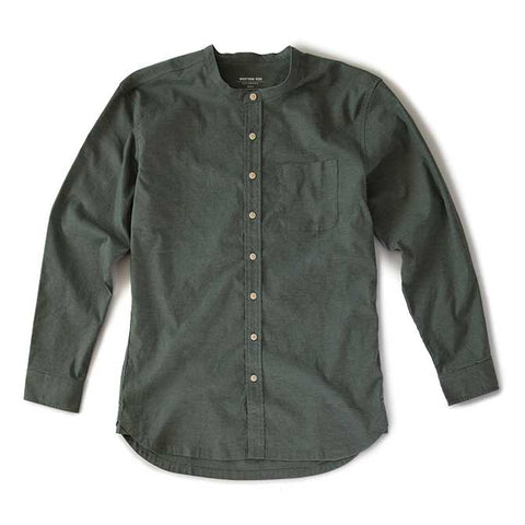Liberated Hemp Band-Collar Shirt - Sage