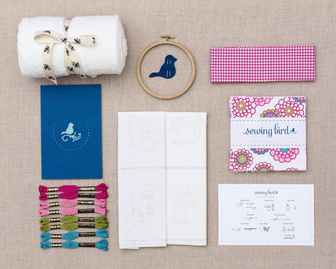 DIY embroidery baby quilt kit-vintage
