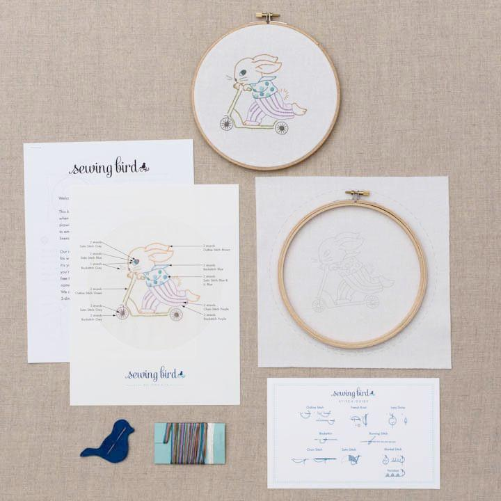 DIY embroidered hoop art kit-bunny