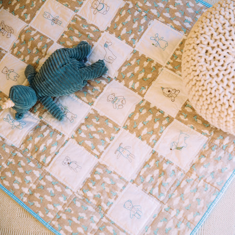 DIY embroidery baby quilt kit-toys modern nursery