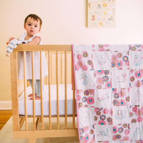 DIY embroidered baby quilt kit-vintage- pink corduroy.nursery