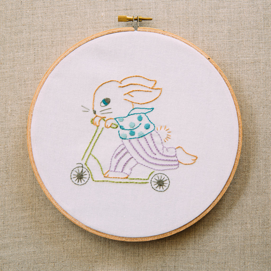 6d5a8e5aa78b3 Scooter Bunny - DIY Embroidery Hoop Art-Penny Squares – Sewing Bird