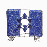 Beaded Matzah Holder - Blue and Silver
