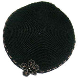 Women's Kippah - Black w/Flower