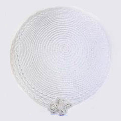 Women's Kippah - White w/Flower