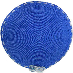 Women's Kippah - Blue w/Flower