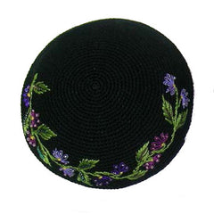 Women's Kippah - Black and Purple