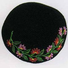 Women's Kippah - Black and Rose